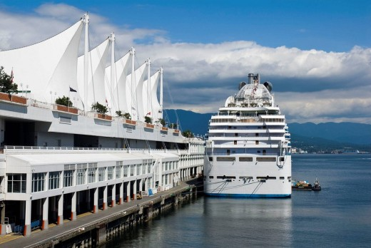 Stock Photo: 1566-489240 Cruise parked in Canada Place while refilling supplies