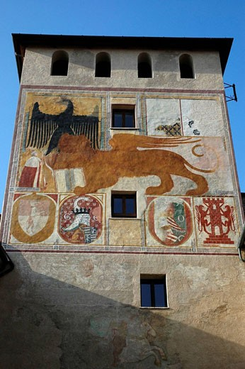 Bassano del Grappa Italy, old tower in the historical center : Stock Photo