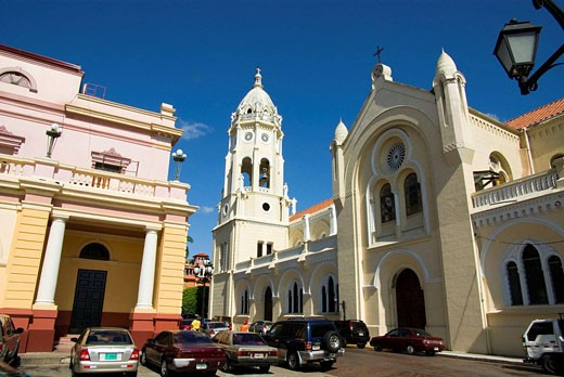 Panama. Panama City. The National Theater ( 1905 G.N.Ruggieri ) and San Francisco church ( XVII century ). : Stock Photo