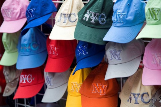 Stock Photo: 1566-490208 Baseball caps, New York City, USA