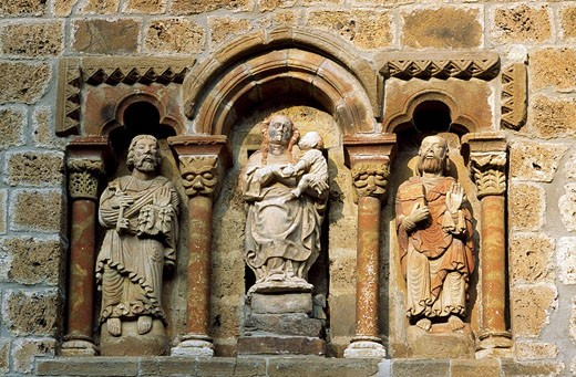 Detail of man front of St. Mary´s church, Piasca. Liébana Valley, Cantabria, Spain : Stock Photo
