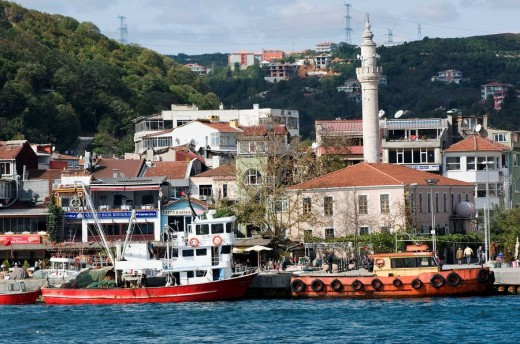 Sariyer town in the Bosphorus Strait near Istanbul Turkey : Stock Photo