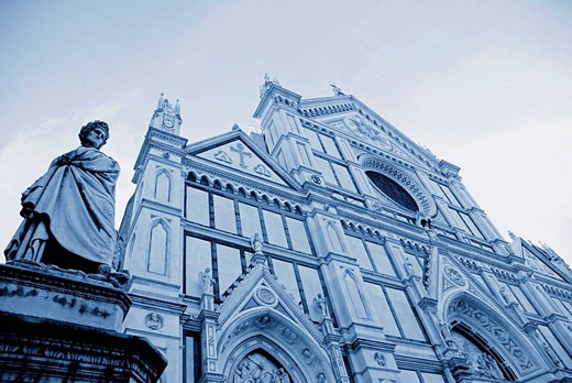 Santa Croce church and Dante Alighieri statue  Florence  Italy : Stock Photo