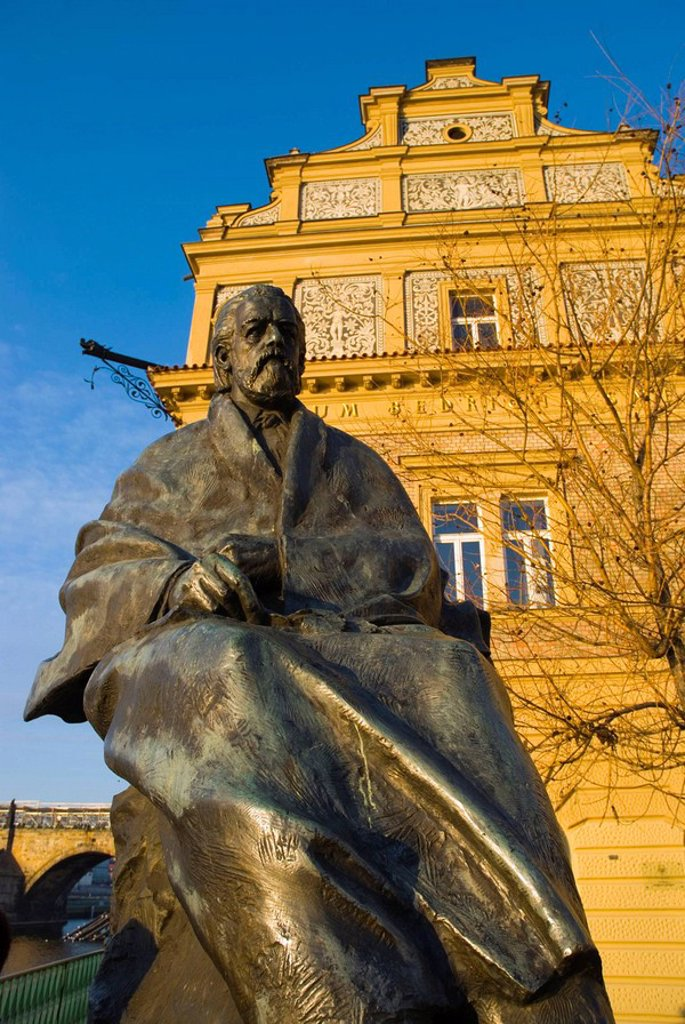 Stock Photo: 1566-492244 Statue of Bedrich Smetana in front of Smetana museum in old town Prague Czech Republic Europe