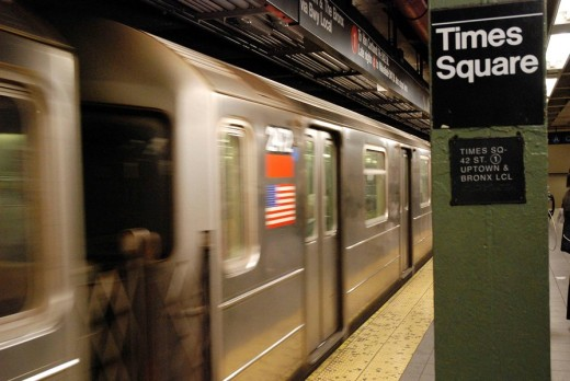Driving Train in Times Sqare Subway Station : Stock Photo