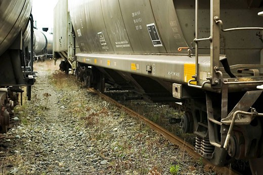Stock Photo: 1566-493356 Railway freight cars in yard. Nanaimo, British Columbia, Canada.