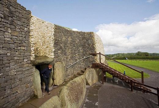 Stock Photo: 1566-494468 Newgrange, County Meath, Ireland The entrance to the Newgrange passage mound, built ca 3200 BC