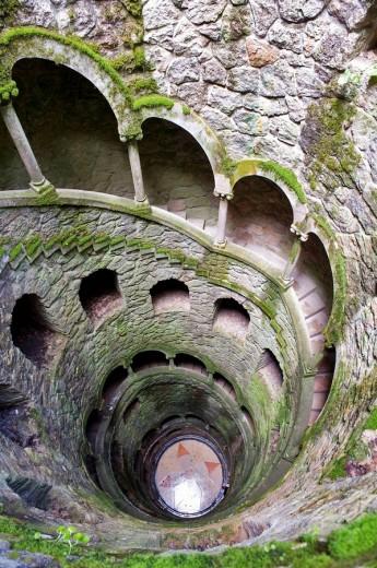 Initiation well, Quinta da Regaleira. Sintra, Portugal : Stock Photo