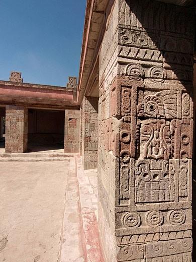 Quetzalpapalotl Palace. Teotihuacan, México. : Stock Photo