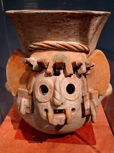 Tlaloc ceremonial pot. Museo de la Ciudad de México. : Stock Photo