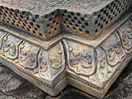 Stock Photo: 1566-495240 Carved Corner of Temple Forty five, 45 at Sanchi Stupa, Madhya Pradesh, India