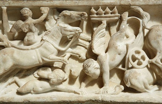Detail of child´s sarcophagus from the Tomb of Licinii depicting Cupids racing (Rome, c. 150-175 AD) in the Ny Carlsberg Glyptotek, Copenhagen, Denmark : Stock Photo