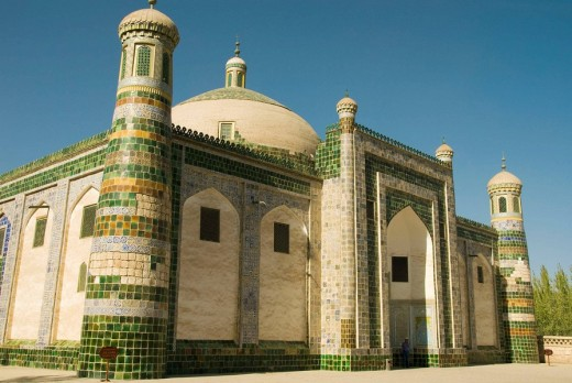Abakh Hoja Tomb where Emporor Cheng Lung´s favorite concubine is interred- Islamic Mosque, Kashgar (Along the Silk Road), Xinjiang province, China : Stock Photo