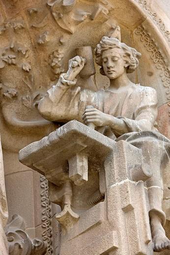 Stock Photo: 1566-497656 Spain, Catalunya, Barcelona, Sagrada Familia church by architect Antoni Gaudi (1882 to 1926), sculpture