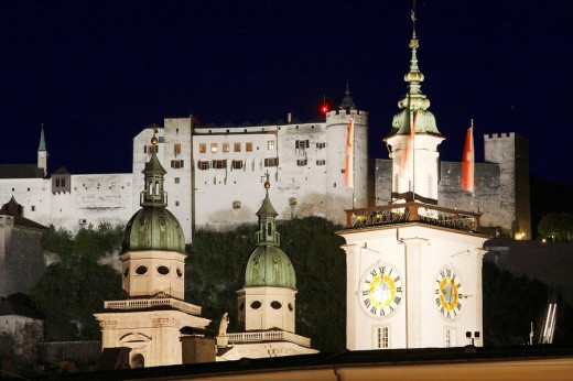 cathedral, town hall and Hohensalzburg castle in Salzburg, Austria : Stock Photo