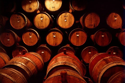 Wine barrels in St  Helena, California, USA : Stock Photo