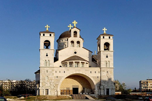 Stock Photo: 1566-498679 Podgorica,Cathedral of the Resurrection of Christ,Serbian Orthodox Church,the Metropolitanate of Montenegro,Montenegro