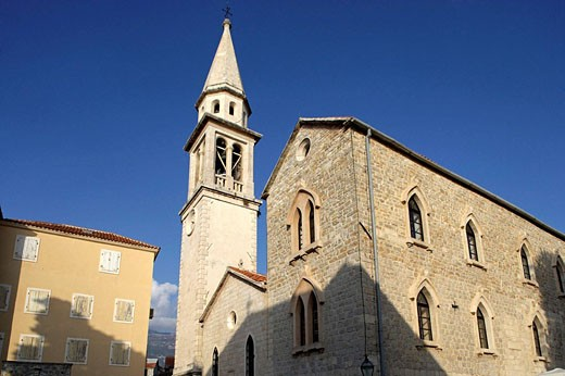 Stock Photo: 1566-498740 Budva,old town peninsula,Cathedral of St John,Bell tower,Montenegro