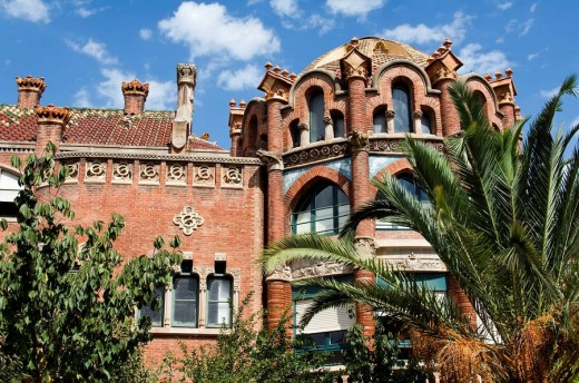 Stock Photo: 1566-500691 Hospital de la Santa Creu i Sant Pau, Pavilion, Architect Luis Doménech y Montaner, Eixample District, Barcelona, Catalonia, Spain, Unesco World Heritage Site