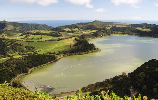 Lake Furnas on Sao Miguel island in The Azores : Stock Photo
