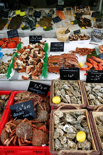 Stock Photo: 1566-501450 Sea food market by the fishing port in Trouville  Normandy, France