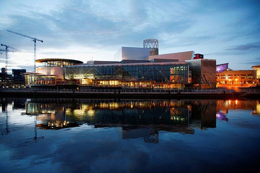 Stock Photo: 1566-501656 The Lowry at Salford Quays, Manchester, England, UK