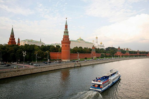 Sep 2008 - View Over the Kremlin and the Moskva river, Moscow, Russia : Stock Photo