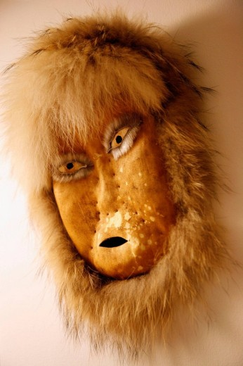 Inuit mask at Nuuk Art Museum, Nuuk, Greenland : Stock Photo