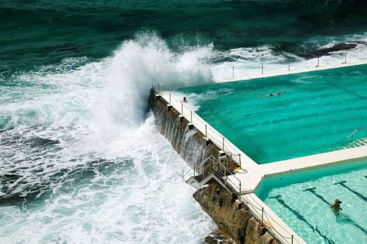 Australia - New South Wales (NSW) - Sydney: World famous Bondi Beach - View of the Bondi Icebergs Swimming Club Pool : Stock Photo