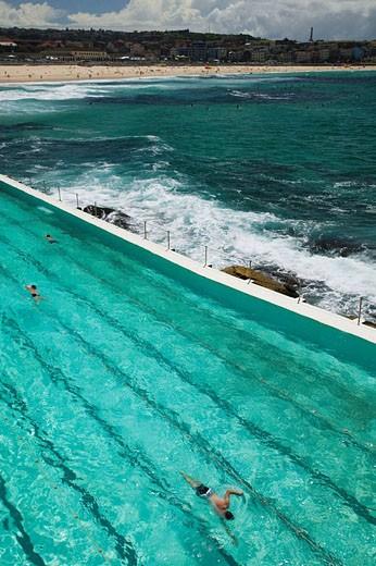 Stock Photo: 1566-502085 Australia - New South Wales (NSW) - Sydney: World famous Bondi Beach - View of the Bondi Icebergs Swimming Club Pool