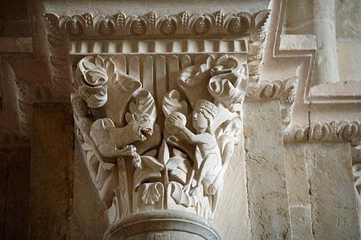 Capital column in church Sainte-Marie-Madeleine, Vézelay, Burgundy, France : Stock Photo