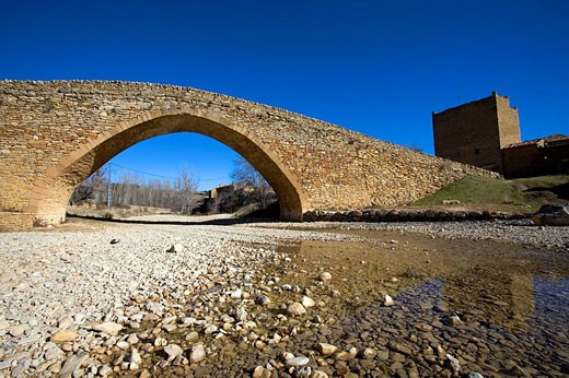 Gothic bridge, Pobla de Bellestar, Villafranca del Cid. Castellon province, Comunidad Valenciana, Spain : Stock Photo