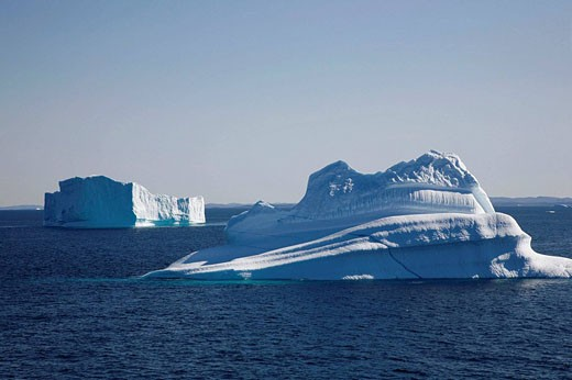 Floating icebergs from the Ilulissat Kangerlua Glacier also known as Sermeq Kujalleq at Disko Bay, Greenland : Stock Photo