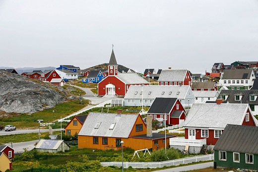 Stock Photo: 1566-503404 View over houses and the Frelsers Kirke Our Saviour Church in the Kolonihavn, Nuuk, Greenland