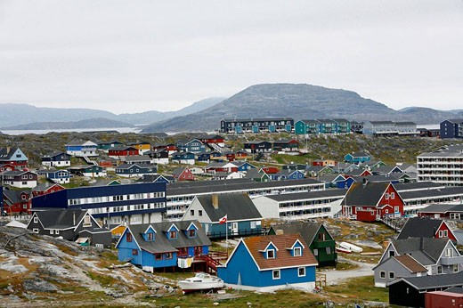 View over houses and the Frelsers Kirke Our Saviour Church in the Kolonihavn, Nuuk, Greenland : Stock Photo