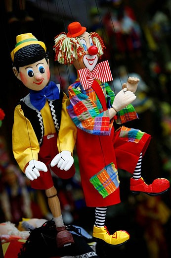 Stock Photo: 1566-503778 Marionettes puppet souvenirs, Prague, Czech Republic