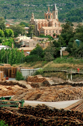 Sawmill and Can Vidal parish, Puig-reig. Barcelona province, Catalonia, Spain : Stock Photo