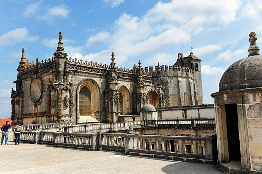 Detail of Roof Top Terrace and Tourists Walking, Convento de Cristo, Tomar Portugal : Stock Photo