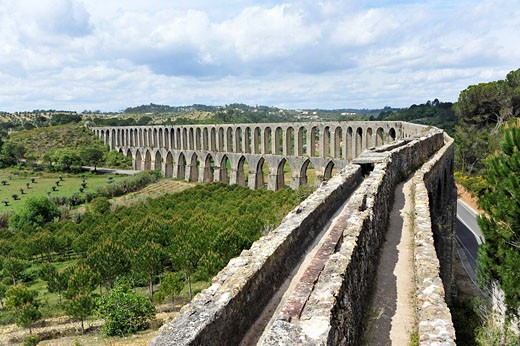 Stock Photo: 1566-504776 View of top of Pegoes Aqueduct, Tomar, Portugal