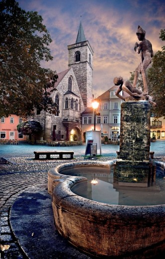 fountain of Wenigemarkt in Erfurt. Thuringia, Germany. : Stock Photo