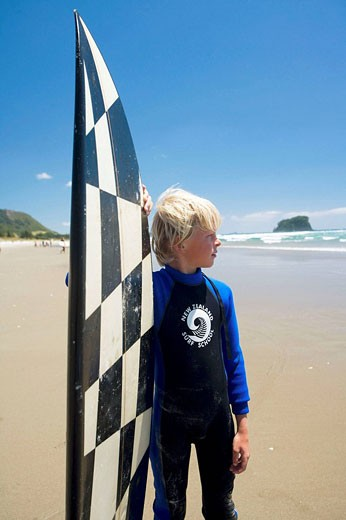 Surf School in Mt  Maunganui, North Island, New Zealand : Stock Photo