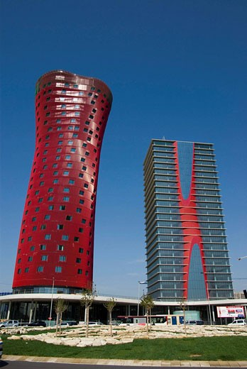 Stock Photo: 1566-505981 Spain  Barcelona  Towers designed by the architec Toyo Ito in te Europe square
