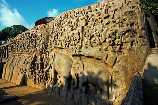 Stock Photo: 1566-508094 Bas-relief monolith of Arjuna´s Penance (the Descent of the Ganges), Mahabalipuram (Mamallapuram). Tamil Nadu, India