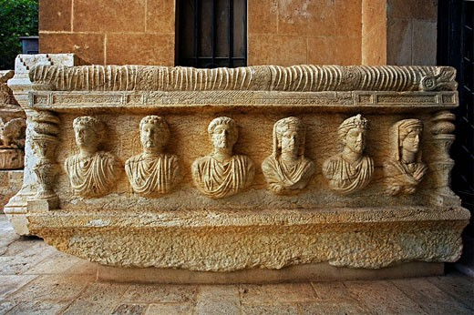 Archaeological museum, old Greco-Roman city of Palmyra, Syria : Stock Photo