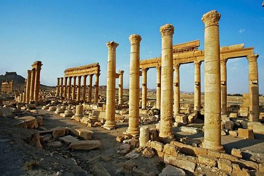 Ruins of the old Greco-roman city of Palmyra, Syria : Stock Photo