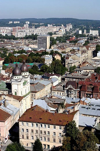 Stock Photo: 1566-508367 Lviv,Lvov,cityscape from Town Hall tower,Western Ukraine