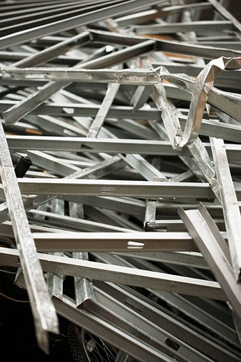 Pile of construction metal/steel studs : Stock Photo
