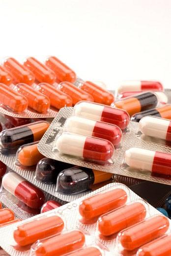 Medical equipment  Pills  Blister packs : Stock Photo
