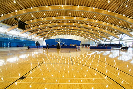 interior, basketball court,  Richmond Olympic Oval, venue for speed skating for the 2010 Winter Games, Vancouver, BC, Canada : Stock Photo