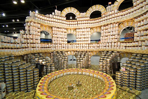 sculpture using food product containers, Vancouver Convention Centre, Vancouver, BC, Canada : Stock Photo